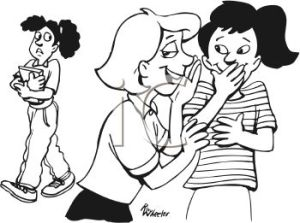 0511-0906-2212-2319_Black_and_White_Cartoon_of_Two_Girls_Gossiping_About_Another_Girl_clipart_image